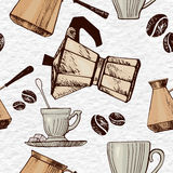 Coffee beans, traditional coffee turkish pot, cups and coffee pot. Seamless vector pattern. Stock Images