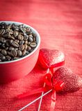 Coffee beans with two hearts Royalty Free Stock Images