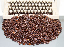 Coffee beans typewriter Royalty Free Stock Images