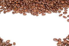 Coffee beans V2. Brown coffee beans with copy space on white background Royalty Free Stock Image