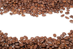 Coffee beans V3. Brown coffee beans with copy space on white background Royalty Free Stock Photos