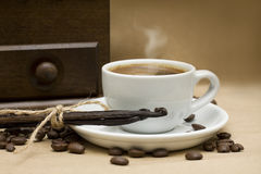 Coffee, beans and vanilla Stock Photography