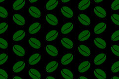 Coffee beans - vector pattern. Green coffee beans on a black background - vector pattern Vector Illustration