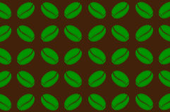 Coffee beans - vector pattern. Green coffee beans on a brown background - vector pattern Stock Illustration