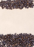 Coffee Beans on vintage background, template for menu, texture of the fabric.  Royalty Free Stock Photo