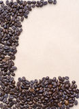Coffee Beans on vintage background, template for menu, texture of the fabric Stock Photo