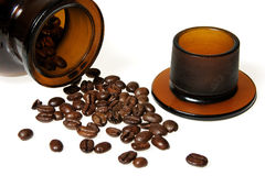 Coffee beans from vintage jar Royalty Free Stock Photography