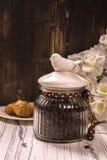 Coffee beans in vintage jar Stock Images