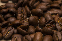 Coffee beans on vintage linen background Stock Photo