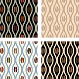 Coffee beans and waves seamless pattern set Stock Image