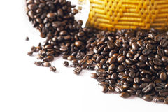 Coffee beans on white backgrond.  Stock Images