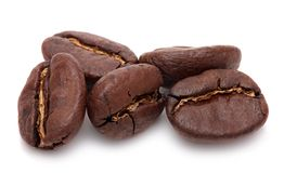 Coffee beans are  on white background. Royalty Free Stock Photos