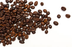 Coffee beans on a white background. stock images