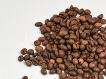 Coffee beans  on white background. Area for copy space Royalty Free Stock Photo