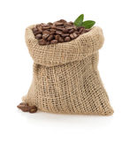 Coffee beans on white background. Coffee beans in bag on white background Royalty Free Stock Image
