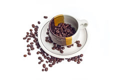 Coffee beans on white background. Coffee bean  white background  cup Royalty Free Stock Images