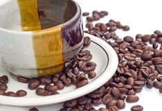 Coffee beans on white background. Coffee bean  white background  cup Royalty Free Stock Photo