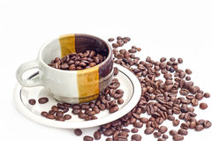 Coffee beans on white background. Coffee bean  white background  cup Stock Photo