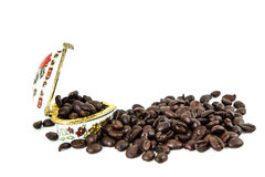 Coffee beans. On white background for cafe for hot Stock Image