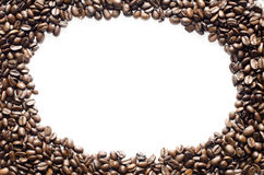 Coffee beans on the white background and circle Royalty Free Stock Images