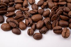 Coffee beans on white background close up stock image