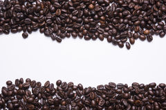 Coffee beans with white background for copy space.  Stock Image