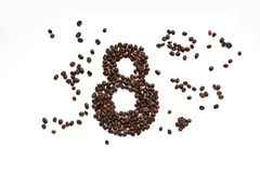 Coffee beans on a white background, March 8 royalty free stock photography