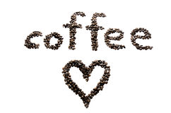 Coffee beans on the white background and heart Stock Image