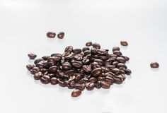 Coffee beans on white background. Isolated royalty free stock photo
