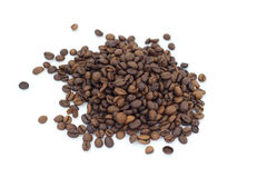Coffee beans on white background. Pile of coffee beans on white background Royalty Free Stock Photo