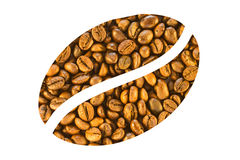 Coffee beans on a white background. Coffee beans are stacked in the form of a large white coffee bean Stock Images