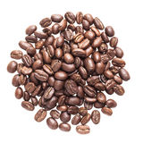 Coffee beans on white background by top view.  Royalty Free Stock Photography