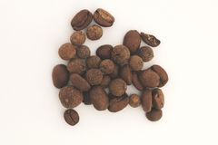 Coffee Beans on White Board Stock Images