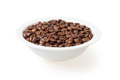 Coffee beans in white bowl Royalty Free Stock Photo