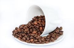 Coffee Beans on White Ceramic Mug and Plate Stock Photos