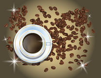 Coffee Beans and White Cofee Cup Isolated in Brown Background Royalty Free Stock Images