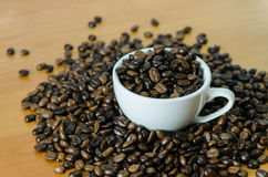 Coffee beans in white cup Stock Photography