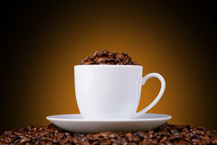 Coffee beans in a white cup on an orange background Royalty Free Stock Images