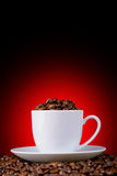 Coffee beans in a white cup on a red background Royalty Free Stock Images