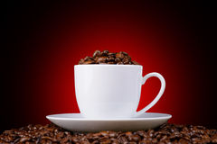 Coffee beans in a white cup on a red background Stock Image