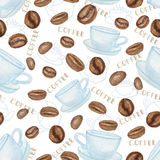 Coffee beans and white Cup seamless pattern. Watercolor Coffee beans and white Cup  seamless ornament,pattern background. Vintage cute wallpaper,fabric,backdrop Royalty Free Stock Images