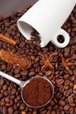 Coffee beans and white cup Royalty Free Stock Image