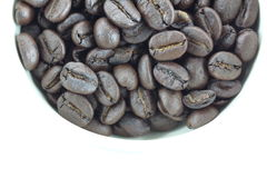 Coffee beans in white cups. Stock Photo