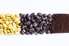 Coffee beans on the white ground Royalty Free Stock Photos