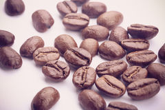 Coffee Beans On White. Some coffee beans are on the white background stock photo