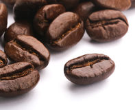 Coffee Beans On White. Some coffee beans are on the white background Royalty Free Stock Images