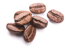 Coffee Beans On White. Some coffee beans are isolated on the white background Stock Image