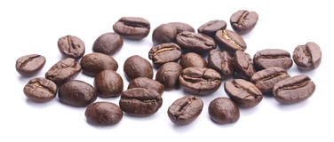 Coffee Beans On White. Some coffee beans are isolated on the white background Stock Images