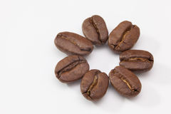 Coffee beans on the white table Stock Photography