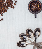 Coffee beans and white tablecloth. The decor design the menu in the cafeteria Stock Photography